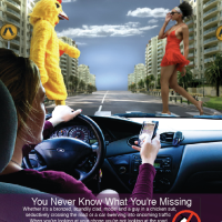 Texting while Driving Ad, Magazine layout