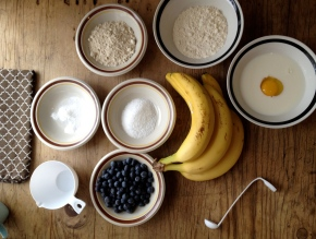 Mr. B's Messy Kitchen Presents: Banana Blueberry Oat Pancakes